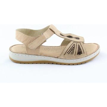 Obrázek Wild 016835A.01 Beige Dámské celokožené sandály