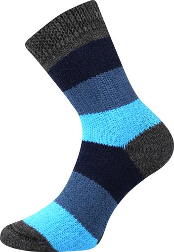 Obrázek z BOMA ponožky Spací ponožky - PRUH pruhy 04/modrá-tmavě šedá 1 pár